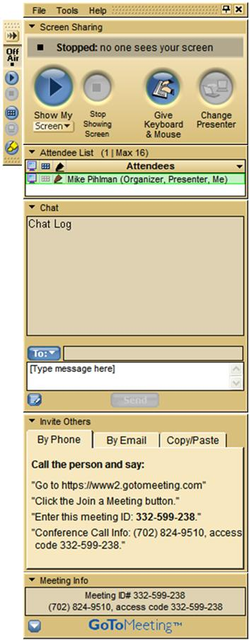 Main ToolBar GoToMeeting