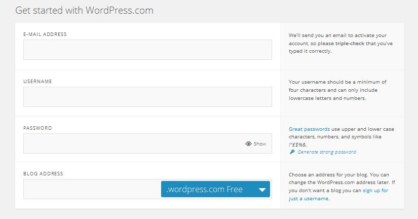 wordpress web site info